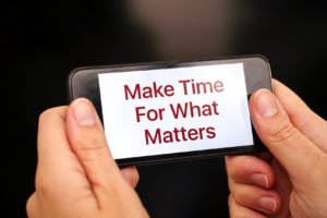 Make time for what matters on smart phone display